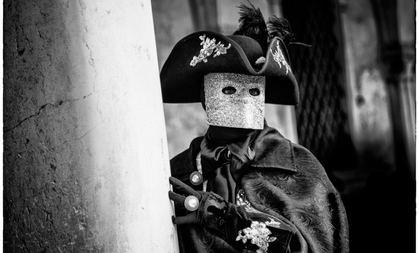 Venezianische Masken 1 schwarzweiß