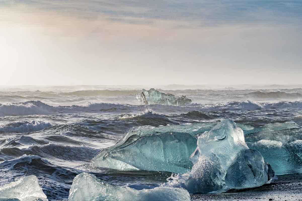 Gletscherlagune Meeresseite