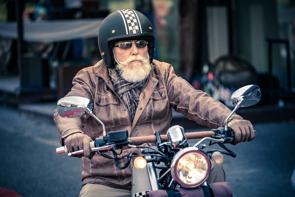 Vintage Motorradfahrer